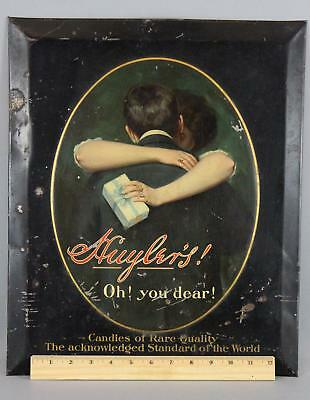 RARE! Antique circa-1900 Huylers Candies, Tin Advertising Candy Store Sign