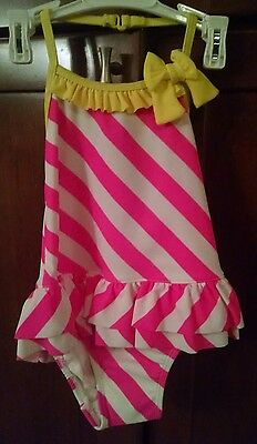 New Joe Boxer Toddler Girls One Piece  Swimsuit Candy Stripes Design size 2T