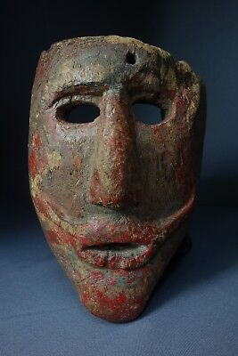 Vintage Hand CarvedSnake Traditional Wooden Dance Mask from Guatemala
