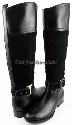 $495 TORY BURCH TENLEY Black Leather Suede Combo Designer Fashion Riding Boots 5