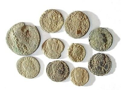 10 ANCIENT ROMAN COINS AE3 - Uncleaned and As Found! - Unique Lot 25906