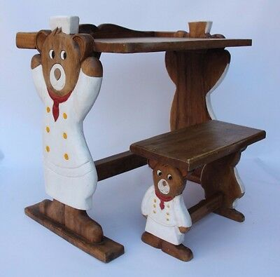 Vintage Wooden Wood Childs Desk Play Table Stool Bench Chair Bear One of a Kind
