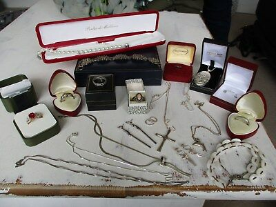 huge collection of antique vintage & modern sterling silver jewellery..