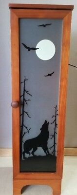"""Wood Lighted Cabinet Cupboard 4 Shelves Wolf Howling at Moon 26.5"""" x 7.25"""" x 7"""""""