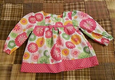 Gymboree girls size 3-6 months Turtle and Friends pink/green floral shirt