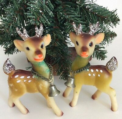 "2 Vintage Rubber Fawn Deer 3.5"" Bell Moveable Heads Glitter Soft Plastic Japan"