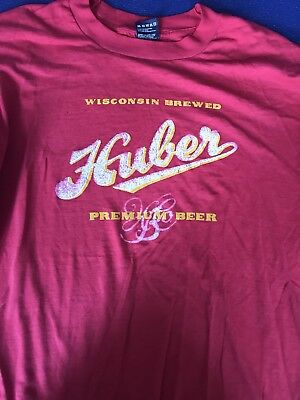 Vintage 80's Mens Huber Beer Wisconsin Brewed T-Shirt Red Thin and Soft M