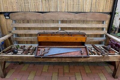 Vintage Handmade Wooden Carpenters/Joiners Tool Box With Full Vintage Tools