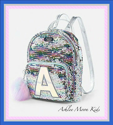 NWT JUSTICE Girls Pastel Initial Flip Sequin MINI Backpack ~ Letters A K L