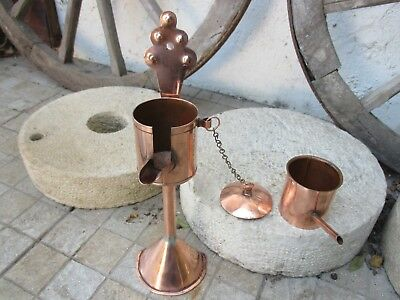 Antique Handmade In Copper Rare Oil Can To Fill Old Lamps For Table Or Hanging