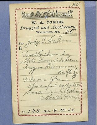 1869 WA Jones Druggist Apothecary Warrenton Missouri Prescription Receipt No 144