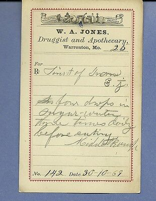 1869 WA Jones Druggist Apothecary Warrenton Missouri Prescription Receipt No 142