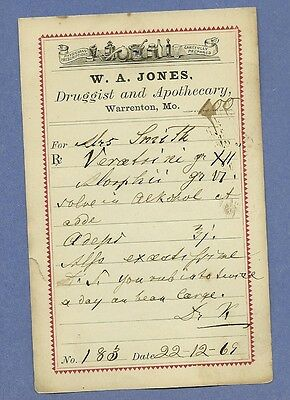 1869 WA Jones Druggist Apothecary Warrenton Missouri Prescription Receipt No 183