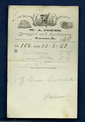 1869 WA Jones Druggist Apothecary Warrenton Missouri Prescription Receipt No 106