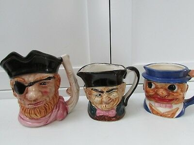 Vintage Toby Pirate Face Mugs Set Of 3 Pitcher/creamers Japan Handpainted