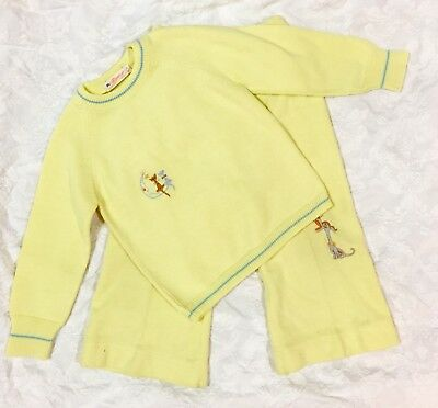 VTG Child's Clothes Baby Toddler Outfit Acrylic Sweater & Pants, Cat, Dog, Moon