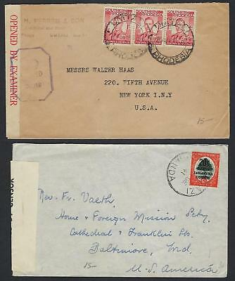 SOUTH AFRICA RHODESIA NYASALAND 1940s FIVE WARTIME ALL CENSOR COVERS DIFF TOWNS