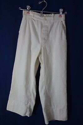 1920's Boy's Sailor Pants - 22/19- White Cotton, Button Fly- BARGAIN PRICE