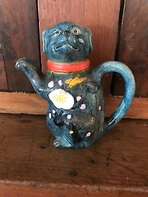 Antique Japanese Banko Type Clay HAND PAINTED DOG Bird TEAPOT JAPAN Majolica MIJ