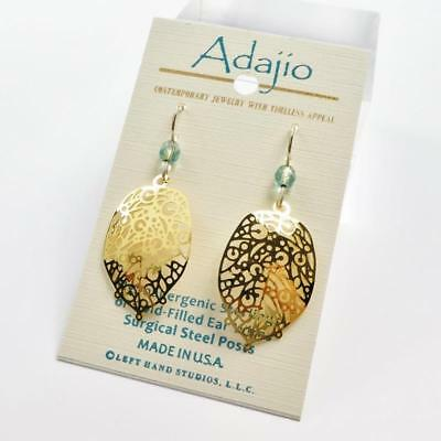 Adajio Earrings Shiny Gold Plated Abstract Leaf Lightweight Handmade 7904