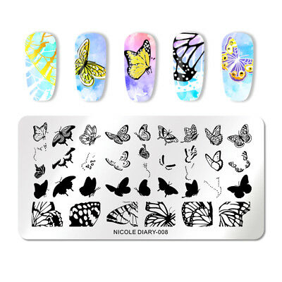 NICOLE DIARY Nail Stamping Plates Butterfly Nail Art Stamping Template Decor