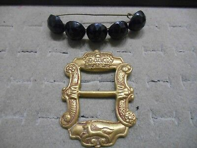 Art Deco Victorian Pair Of Brooches,large Brass With Design,glass Ball