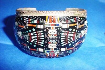 Magnificent Zuni Sterling Silver Bracelet, by Ronnie Ramil Glodove, Micro Inlay