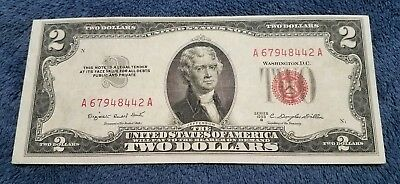 1953 B $2 Two Dollar Bill United States Legal Tender Red Seal Note *nice Note*