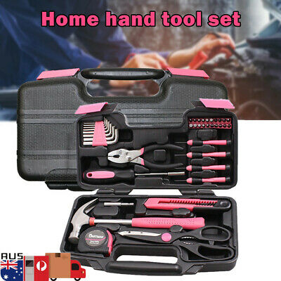 39PCS Pink Tool Set Household Kit Womens Ladies Carrying Toolbox Repair Box Case