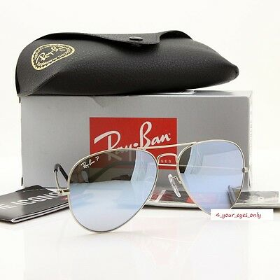 2b5f589e07 RAY-BAN AVIATOR RB3025 019 W3 58 POLARIZED Silver Mirror  Matte Silver  AUTHENTIC