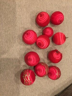 lot Of 11 Vintage Satin Sheen Balls Christmas Ornaments RED sizes Glitter