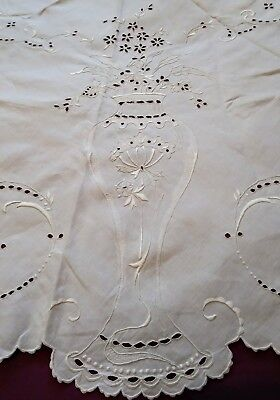 Amazing Round White Cutwork and Embroidered Madeira Linen Tablecloth 51 Inches