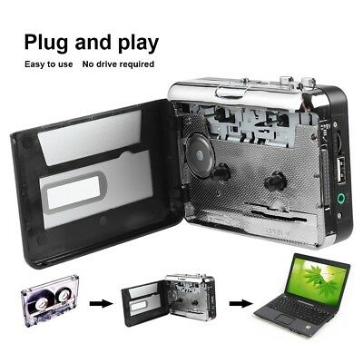 Tape to PC USB Cassette to MP3 Converter Captue Adapter Audio Music Player 2*AA