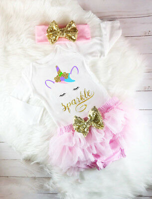Unicorn Newborn Baby Girls Top Romper Shorts Pants Skirt Headband Outfit Clothes