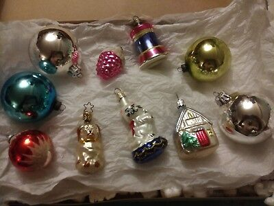 vintage hand blown mercury glass christmas ornaments lot w german czech japan - Mercury Glass Christmas Decorations