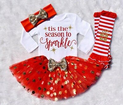 USA Xmas Newborn Kids Baby Girls Cotton Romper Tutu Tulle Sequins Dress Outfits