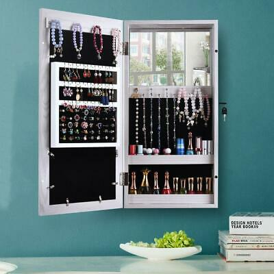 Wall Mounted Mirrored Jewelry Cabinet Armoire Storage Organizer Home Decor White