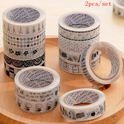 2 Pc 15mm 10m Random Cute Adhesive Tape Decorative Masking Tape Scrapbooking_C