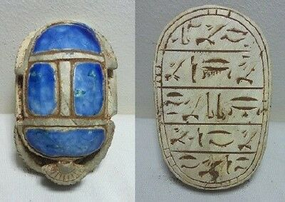 ANCIENT EGYPTIAN ANTIQUE SCARAB Carved White Carved Stone 1456-1256 BC