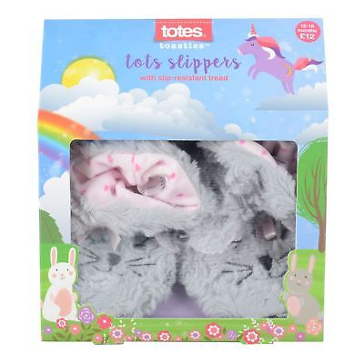 Totes Toasties Kids Cosy Bunny Rabbit Slippers With Non Slip Sole 6-30 Months