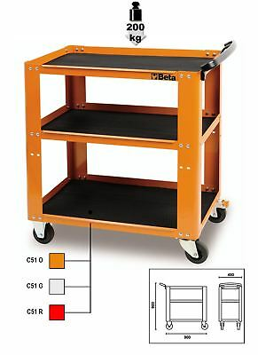 Beta Tools C51 Orange 3-Level Garage Workshop Parts & Tool Trolley Cabinet