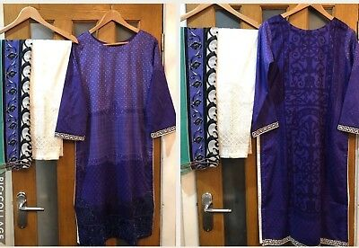 Pakistani/India Maria B Inspired 3 piece Stitched Lawn cotton  Suit