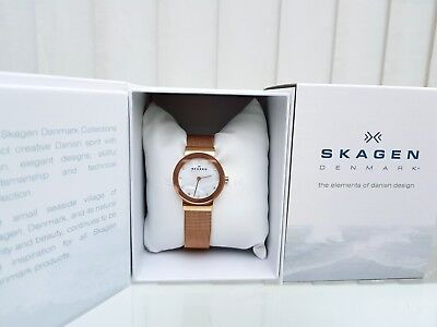 Designer SKAGEN Ladies Watch MESH strap SLIM Rose Gold plated RRP£169 Boxed (SK9