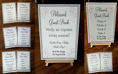 ** A4/A5 Polaroid Guest Book Wedding Sign - white or ivory card **21 colours**