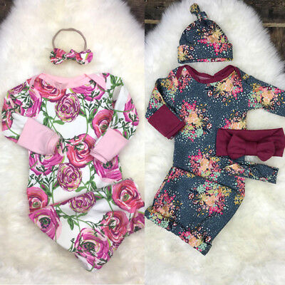 Cute Newborn Baby Girls Floral Sleeping Bag Romper Bedding Swaddle Outfits USA