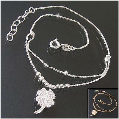 Ankle Chain Foot Necklace 925 Silver Gold 24-27cm Clover Zirconia Jewelry