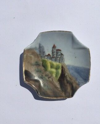 Antique Butter Pat Of A Castle On A Bluff