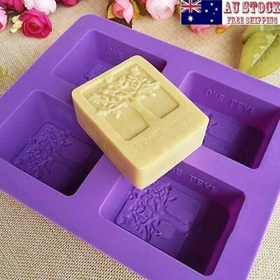 AU 4 Cavity Happiness Tree Silicone DIY Handmade Soap Candle Mold Pudding Mould