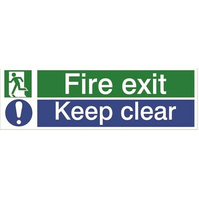 House Nameplate Co Fire Exit Keep Clear, 8x12.5cm