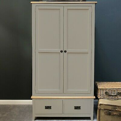 Painted Grey Oak 2 Door Wardrobe / Double Wardrobe Solid Wood Drawers Woburn